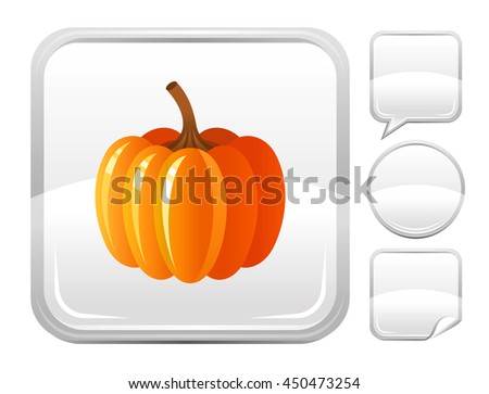 Dessert food icon with pumpkin vegetable for season concept - summer gardening, autumn farming harvest, thanksgiving day. Square and other blank button forms set - speaking bubble, circle, sticker - stock vector
