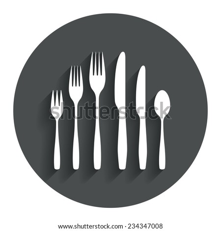 Dessert fork, knife, teaspoon sign icon. Cutlery collection set symbol. Gray flat button with shadow. Modern UI website navigation. Vector