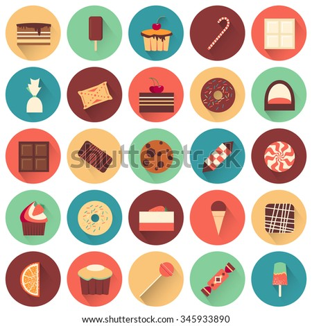 Dessert icon set. Collection of tasty sweets. Yummy delicious cakes. White and black chocolate.  Confectionery buiscuits. Every icon can be used separately. Food. Vector design illustration.  - stock vector