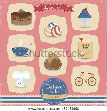 Dessert icon set. Icon set for bakery shop, cafe, restaurant. Sweets, cake, cookies and other sweet food. ?an be used for menu design  - stock vector