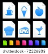 Dessert Icons on Colorful Paper Document Collection Original Illustration - stock photo
