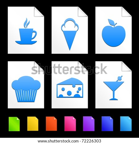 Dessert Icons on Colorful Paper Document Collection Original Illustration - stock vector