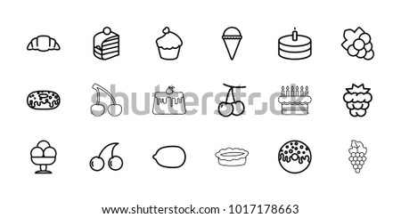 Dessert icons. set of 18 editable outline dessert icons: cherry, mulberry, cherry, lemon, grape, ice cream, piece of cake, donut, croissant, muffin, cake, grape