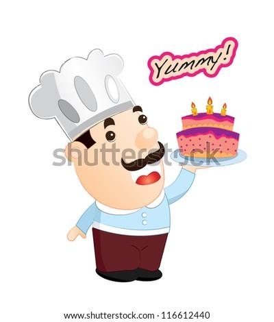 Dessert series (friendly chef) - stock vector