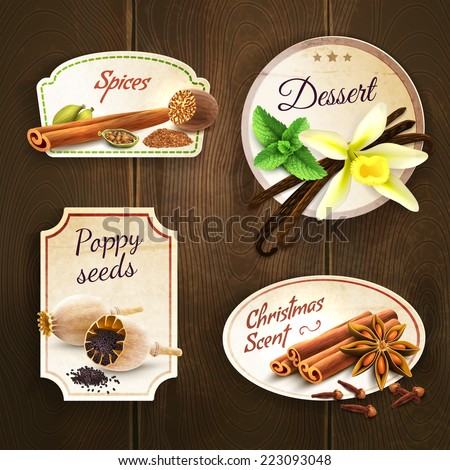 Dessert spices poppy seed christmas scent decorative elements badges set isolated on wooden background vector illustration - stock vector