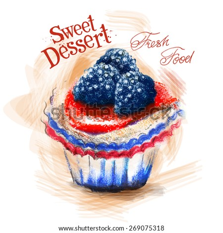 dessert vector logo design template. cake or fresh food icon. - stock vector
