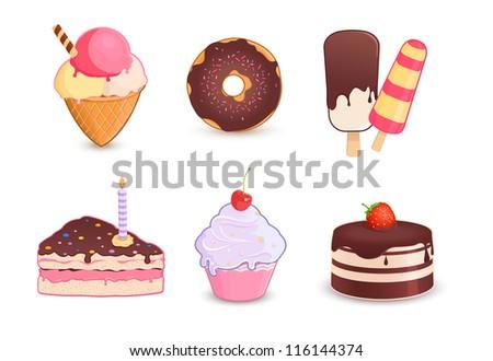 Desserts - stock vector