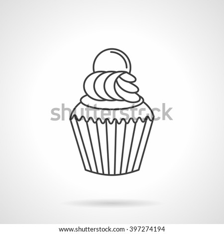 Desserts menu. Pastry and bakery. Cupcake with cream. Vector icon flat thin line style. Element for web design, business, mobile app.