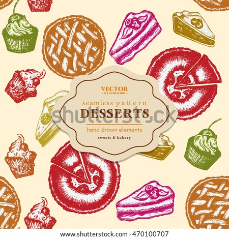 Desserts seamless pattern cakes cupcakes ink hand drawn sketch vector illustration