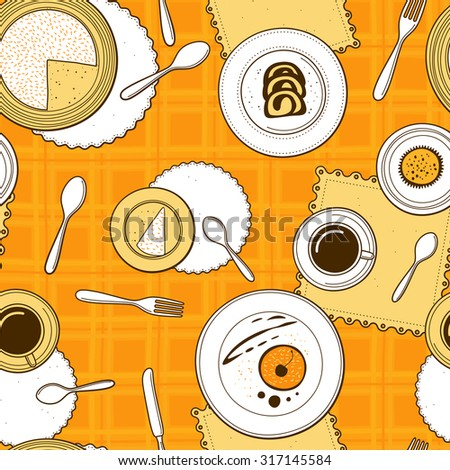 Desserts seamless pattern. Hand-drawn various dishware with desserts at a table with yellow checkered tablecloth. Vector background. - stock vector