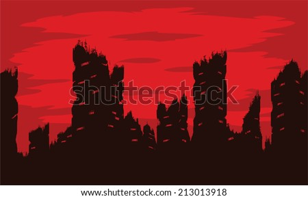 Destroyed city  - stock vector