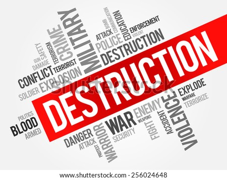 DESTRUCTION word cloud concept - stock vector