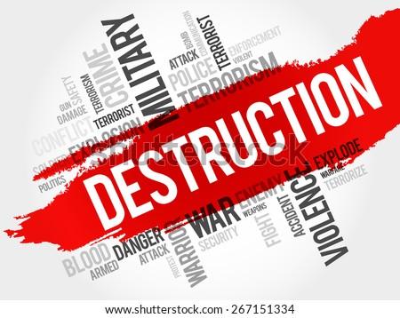 DESTRUCTION word cloud concept - stock vector