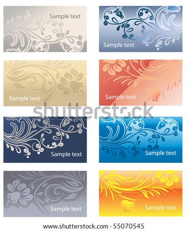 Det of floral business cards - stock vector