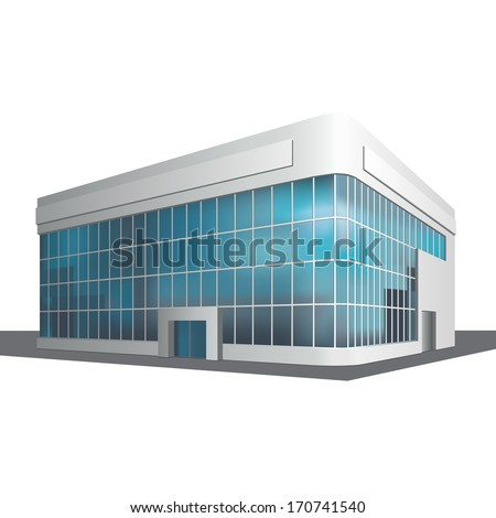 detached multistory office building, business center on a white background