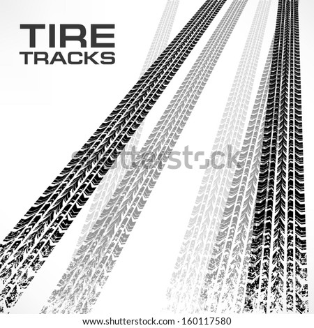 Detail black tire tracks on white & text, vector illustration  - stock vector