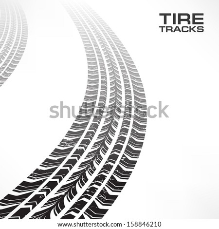 Detail black tire tracks on white, vector illustration  - stock vector