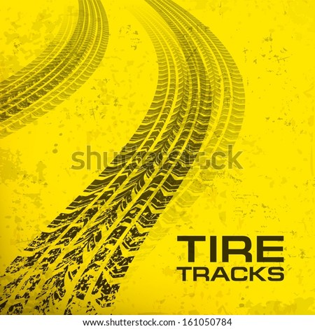 Detail black tire tracks on yellow, vector illustration  - stock vector