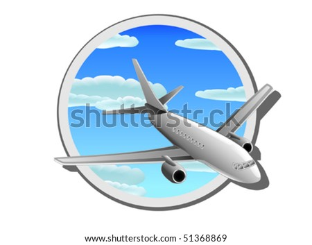 Detail illustration of commercial plane - stock vector