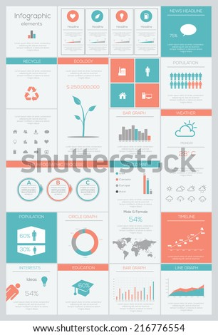 Detail infographic Flat style vector illustration. World Map and Information Graphics - stock vector