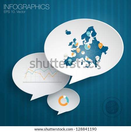 Detail infographic vector illustration. Infographics and map of Europe on a paper bubble speech on a blackboard. Easy to edit - stock vector