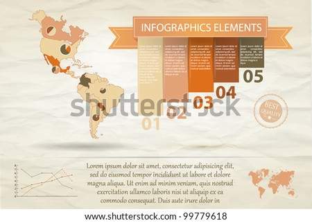 Detail infographic vector illustration. Map of North and South America and Information Graphics. Easy to edit countries - stock vector