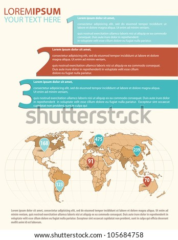 Detail infographic vector illustration. Map of the world and Information Graphics. Easy to edit countries - stock vector