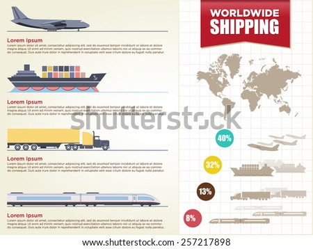 Detail infographic vector illustration with. map of the world & cargo transport icons