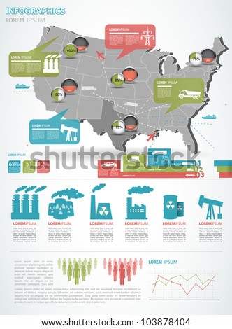 Detail infographic vector illustration with. Map of United States of America, industrial infographics and Information Graphics. Easy to edit states - stock vector