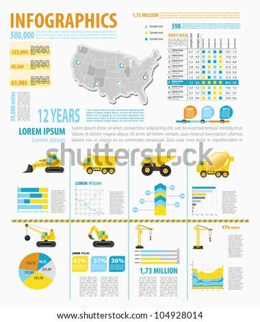 Detail infographic vector illustration with. Map of United States of America, industrial  and buinding infographics and Information Graphics. Easy to edit states - stock vector
