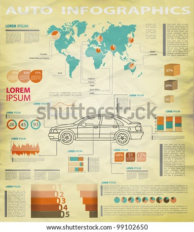 Detail infographic vector illustration. World Map and Information Graphics. A summary of the car - stock vector