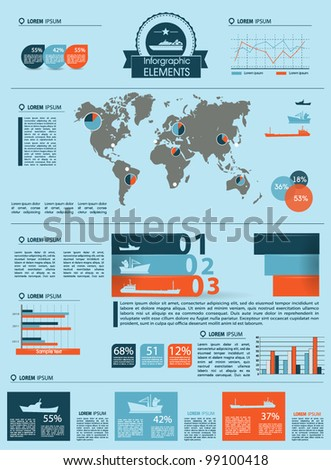 Detail infographic vector illustration. World Map and Information Graphics summary info about the ships and offshore manufacture - stock vector