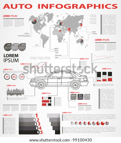 Detail infographic vector illustration. World Map and Information Graphics Summary info about the cars - stock vector