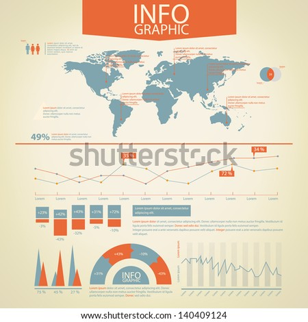 Detail infographic vector. World Map and Information Graphics