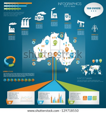 Detail modern infographic vector illustration with Map of Australia, industrial infographics and Information Graphics. Easy to edit states. Paper style - stock vector