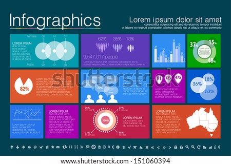 Detail modern infographic vector illustration with Map of Australia, Information Graphics. Easy to edit states. Modern flat design. Metro style - stock vector