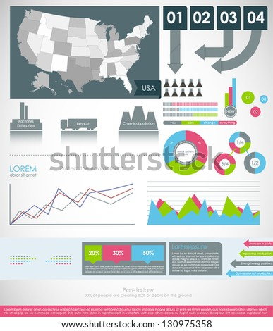 Detail modern infographic vector illustration with Map of USA, industrial infographics and Information Graphics. Easy to edit states. Paper style - stock vector