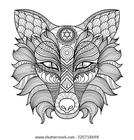 fox head coloring page - fox head tattoo psychedelic zentangle style stock vector