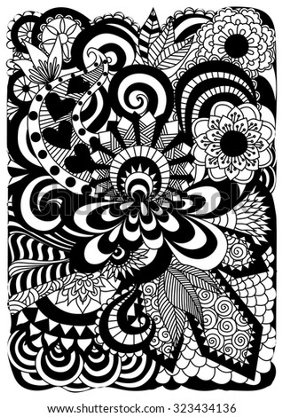 detailed abstract zentangle flowers background