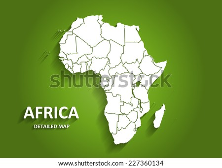 Detailed Africa Map on Green Background with Shadows (EPS10 Vector) - stock vector
