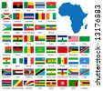 Detailed African flags and map manually traced from public domain map - stock photo