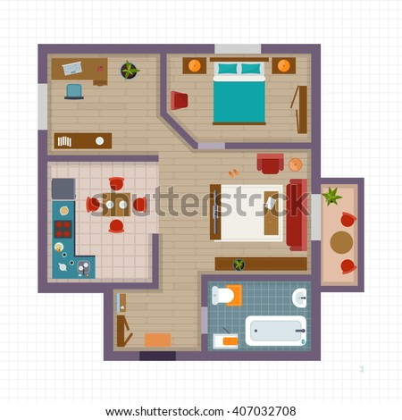 Detailed apartment furniture overhead top view. Apartment room plan. Flat style vector illustration. - stock vector