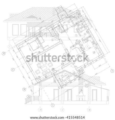 Detailed architectural plan of suburban house. Vector blueprint. Abstract architectural background.