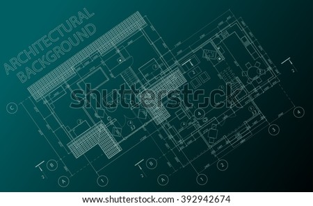 Detailed architectural plan. Vector blueprint. Abstract architectural background. - stock vector