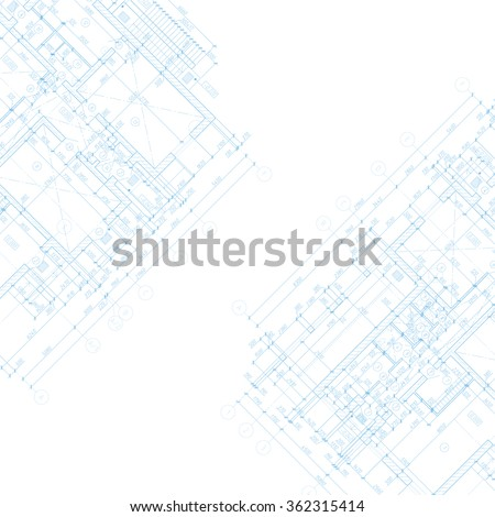 Detailed architectural plan. Vector blueprint. Abstract background. - stock vector