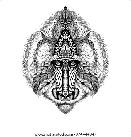 Detailed Baboon in aztec style