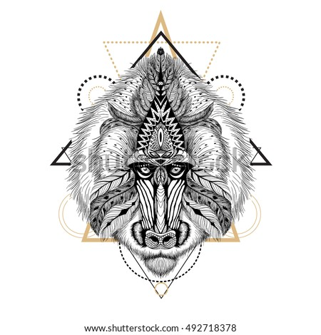 Detailed Baboon in aztec style.