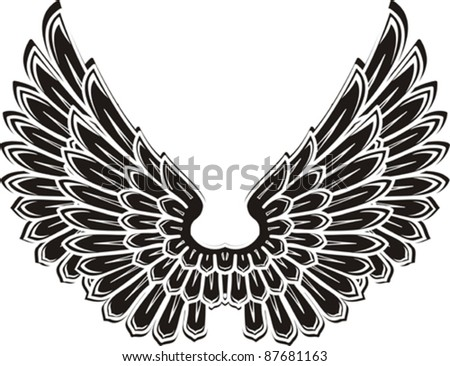 Detailed bird wings isolated on White background. Vector illustration - stock vector