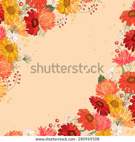 Detailed bright greeting card with gerbera and berries isolated on white. Square frame  for your design, greeting cards, announcements, posters.