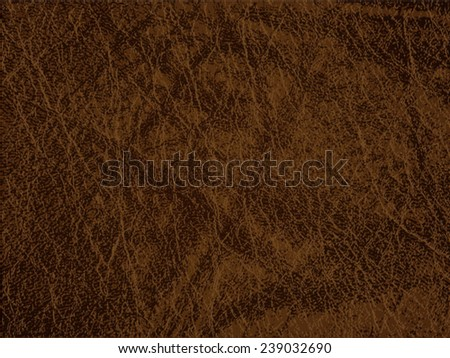 Detailed brown leather texture background. Vector illustration - stock vector